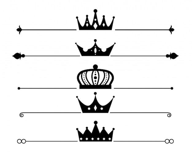 Conjunto de separador de coroa ou design de borda Vetor grátis