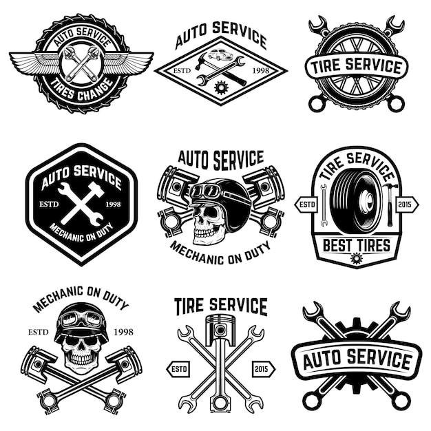 Conjunto de serviço de carro, auto serviço, pneu mudar distintivos no fundo branco. elementos para o logotipo, etiqueta, emblema, sinal. ilustração Vetor Premium