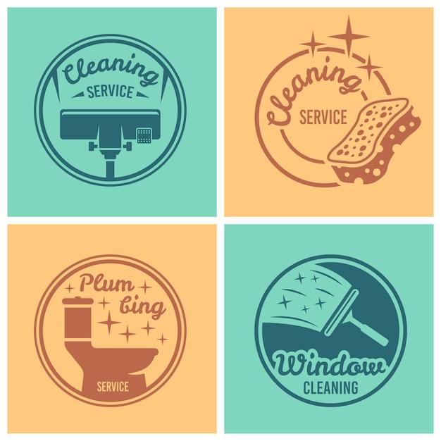 Conjunto de serviço de limpeza e encanamento com quatro emblemas, etiquetas ou emblemas redondos Vetor Premium