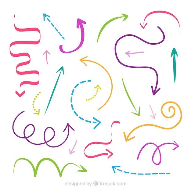 Conjunto de setas coloridas para marcar na mão desenhada estilo Vetor grátis
