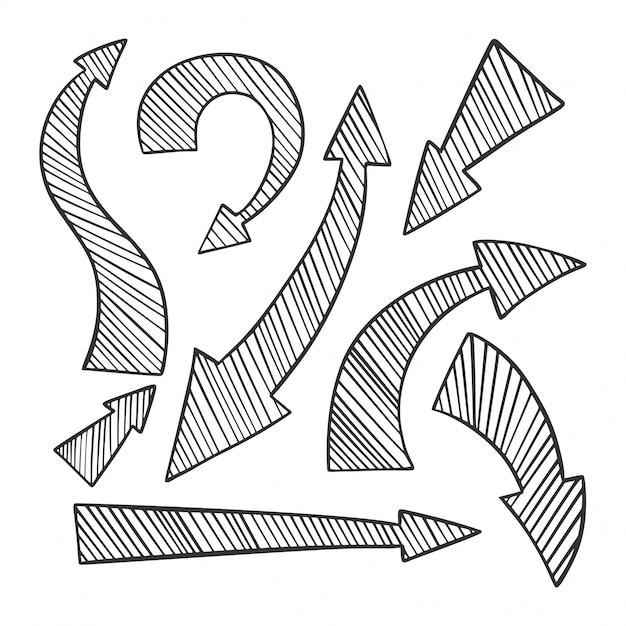 Conjunto de setas de mão desenhada, ícones de direções diferentes. Vetor Premium