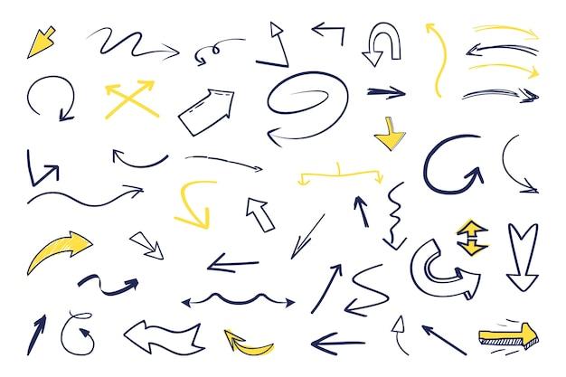 Conjunto de setas de mão desenhada Vetor grátis