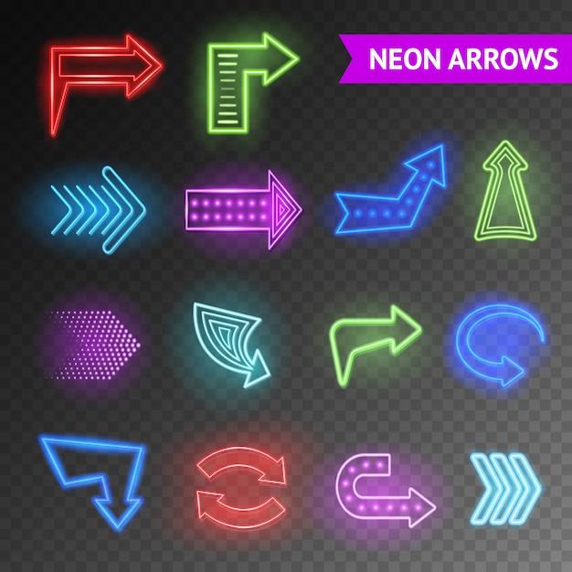 Conjunto de setas de néon brilhante Vetor grátis