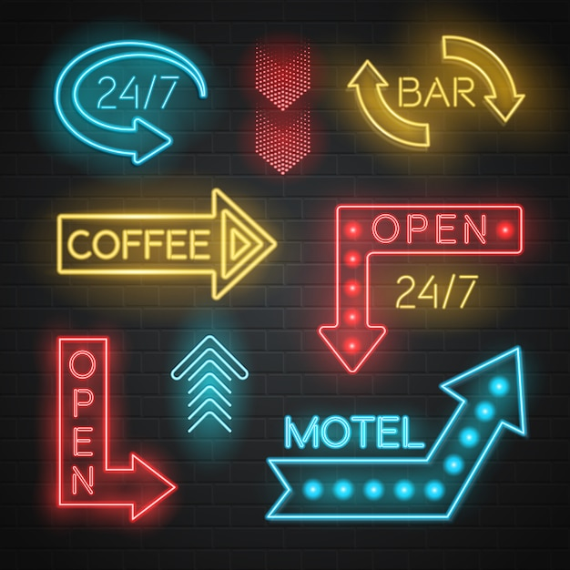 Conjunto de setas de neon motel e bar Vetor grátis