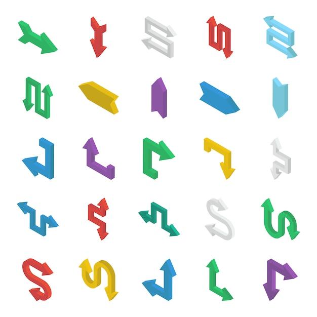 Conjunto de setas isométricas Vetor Premium