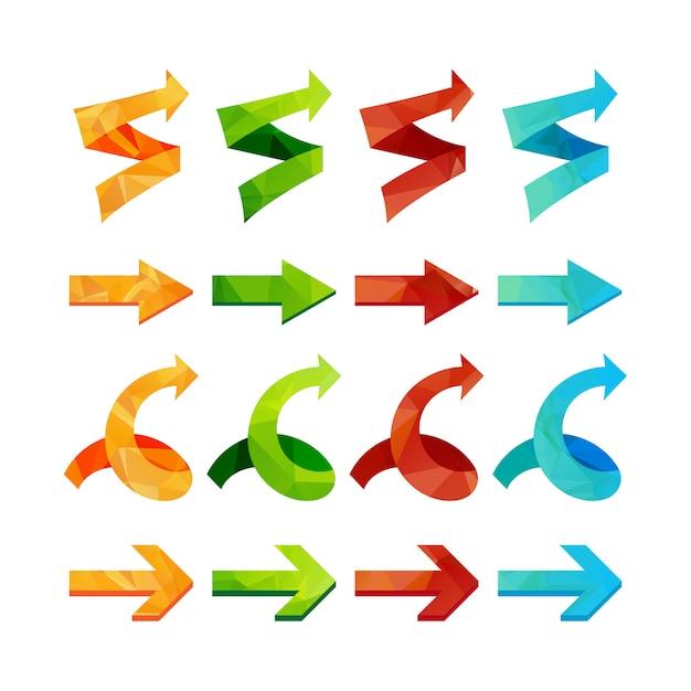 Conjunto de setas poligonais triângulo isolado, desfazer e botões anteriores. Vetor Premium