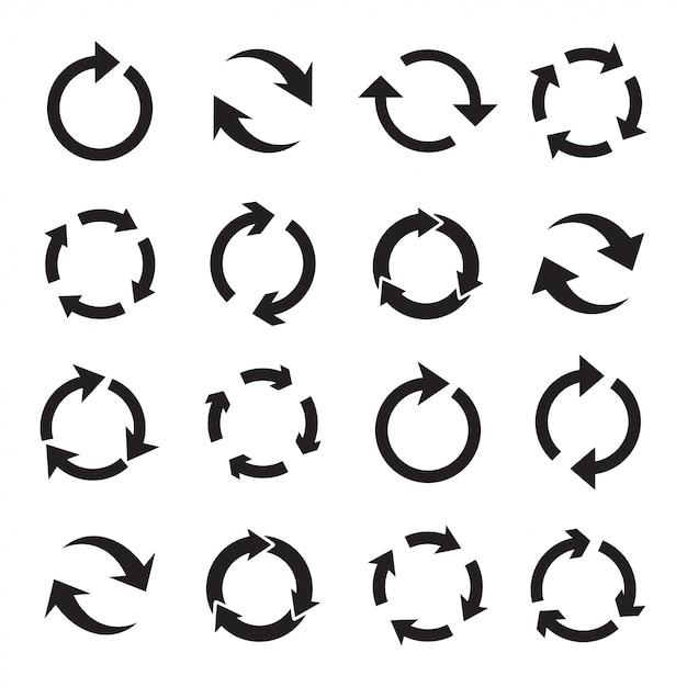 Conjunto de setas pretas circulares. Vetor Premium