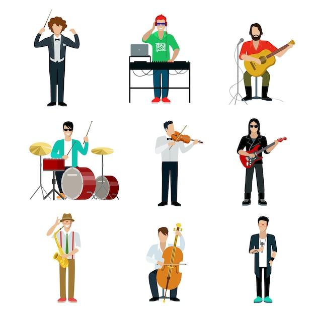 Conjunto de showman de músicos. guitarrista, baterista, pianista Vetor grátis