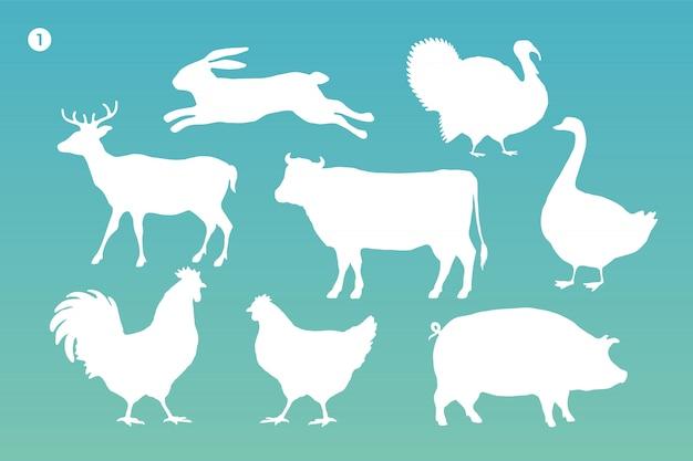 Conjunto de silhueta de animais. silhueta branca de animais Vetor Premium