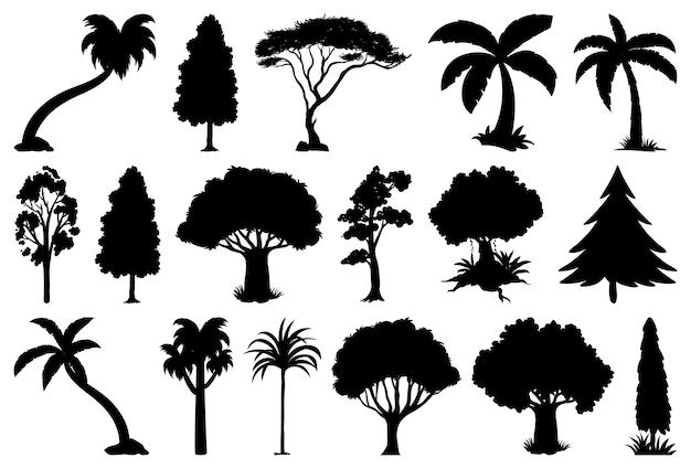Conjunto de silhueta de planta e árvore Vetor grátis