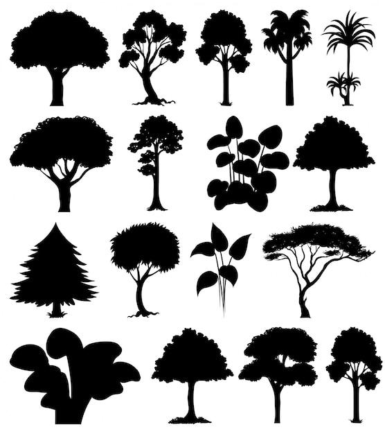 Conjunto de silhueta de plantas e árvores Vetor grátis