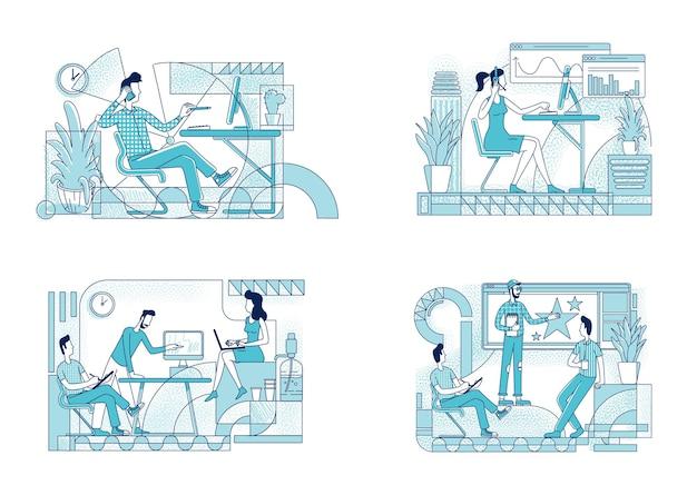 Conjunto de silhueta plana de coworking de funcionários. Vetor Premium