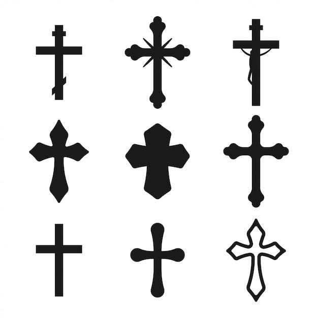 Conjunto de silhueta preta transversal cristã isolado em um fundo branco. Vetor Premium