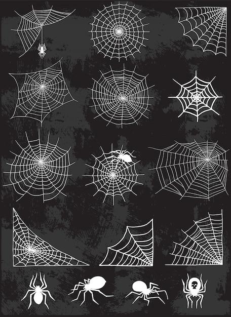Conjunto de silhueta web aranha Vetor Premium