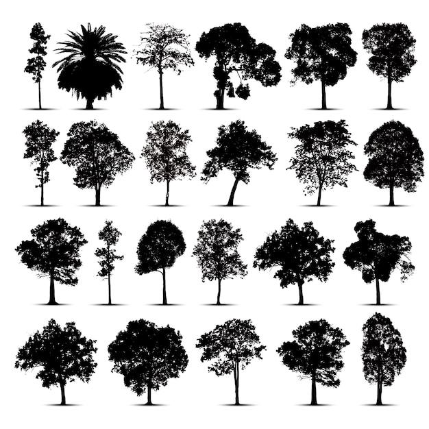Conjunto de silhuetas de árvore Vetor Premium