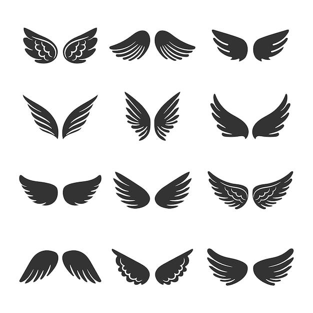 Conjunto de silhuetas de asas de anjos Vetor Premium