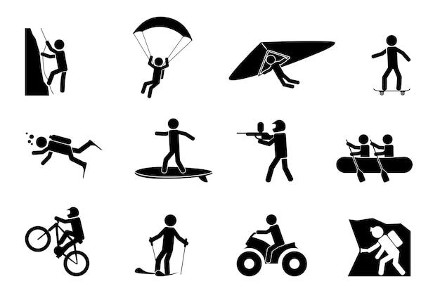 Conjunto de silhuetas de esportes radicais ou aventura Vetor grátis