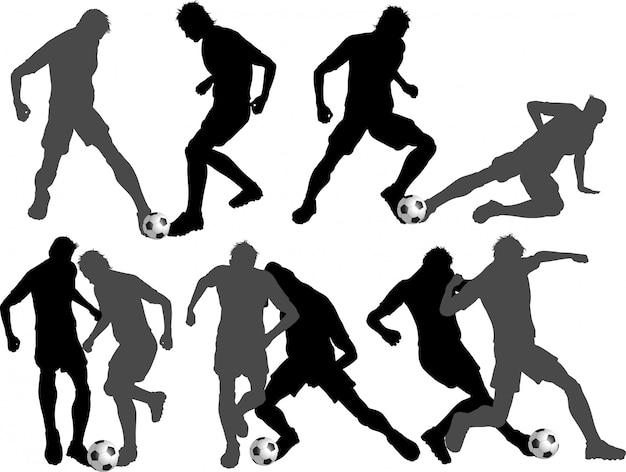 Conjunto de silhuetas de jogador de futebol Vetor grátis