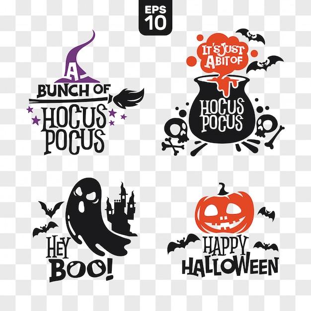 Conjunto de silhuetas, ícones de halloween com citação para decoração de festa e corte adesivo Vetor Premium