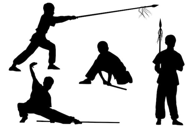 Conjunto de silhuetas: menino mostra wushu tao com uma vara e uma lança Vetor Premium