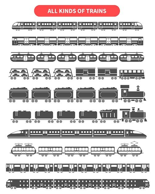 Conjunto de silhuetas negras de trem Vetor grátis