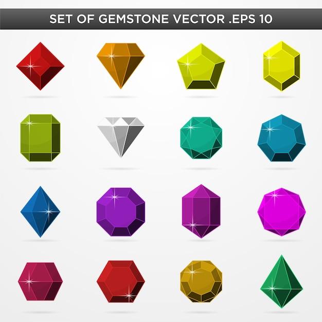 Conjunto de símbolo de ícones gamestone realista Vetor Premium