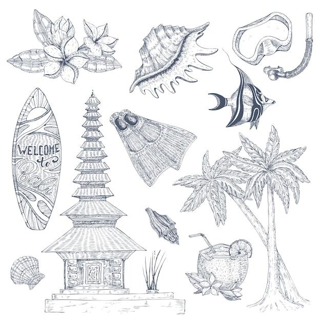 Conjunto de símbolos balineses Vetor Premium