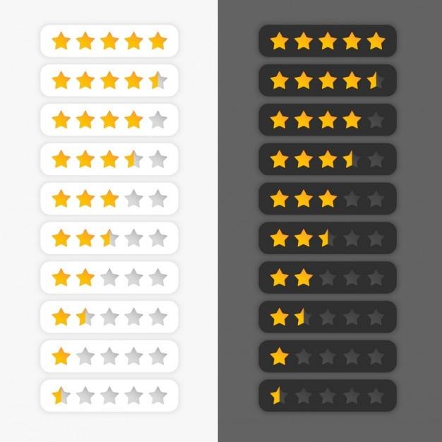 Conjunto de símbolos classificação por estrelas Vetor grátis