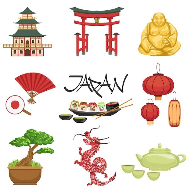 Conjunto de símbolos da cultura japonesa Vetor Premium