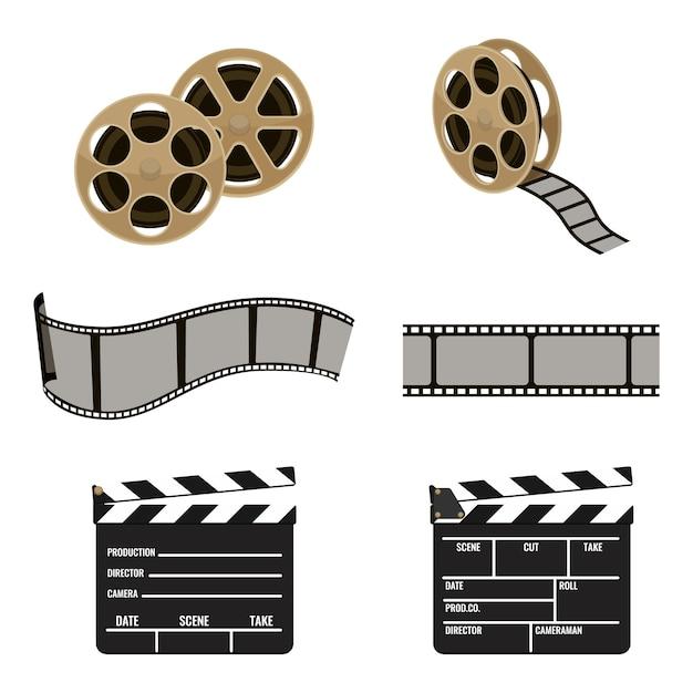 Conjunto de símbolos de carretel de filme e claquete de ícones de filmagem de cinema. tira flexível de plástico para produzir filmes isolados em Vetor Premium