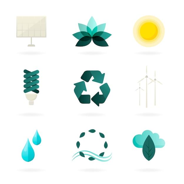 Conjunto de símbolos de energia alternativa vector Vetor grátis