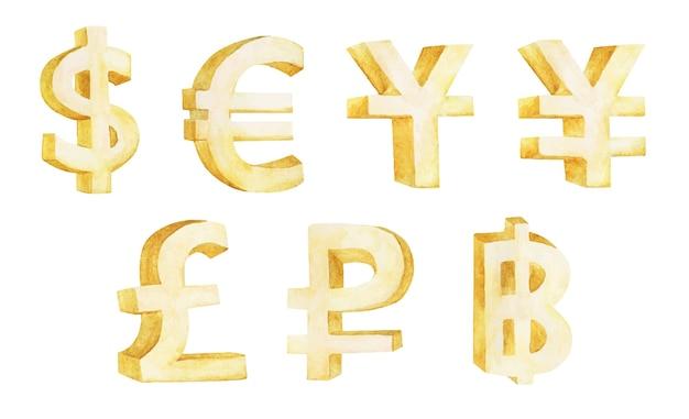Conjunto de símbolos de moeda isolado no branco Vetor Premium