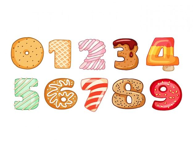 Conjunto de símbolos de números saborosos Vetor Premium