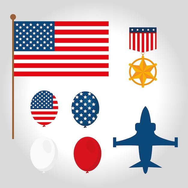 Conjunto de símbolos de veteranos de guerra americanos Vetor Premium