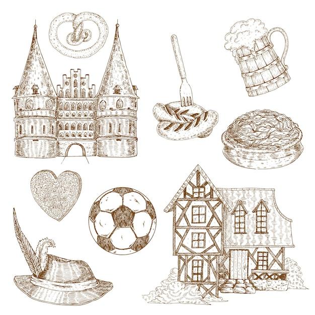 Conjunto de símbolos desenhados alemanha Vetor grátis