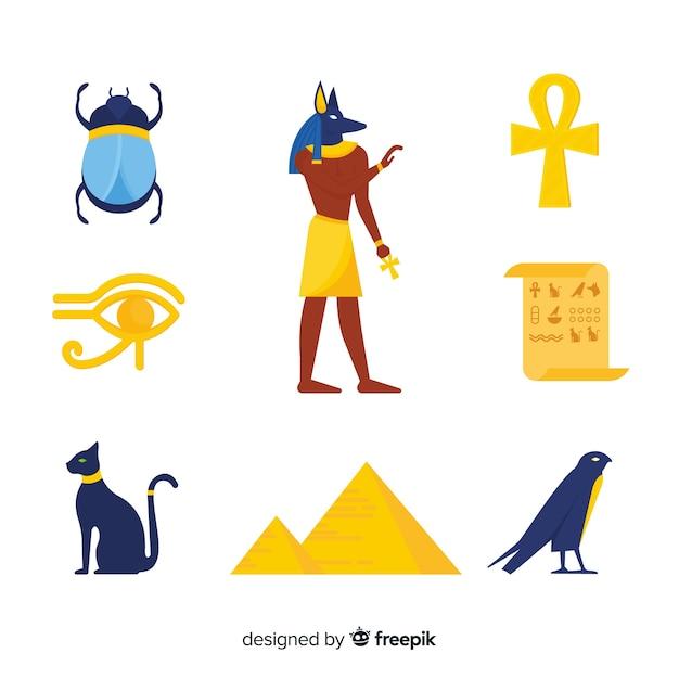 Conjunto de símbolos egípcios em design plano Vetor grátis