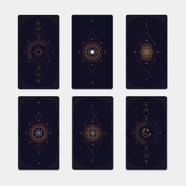 Conjunto de símbolos místicos geométricos Vetor Premium