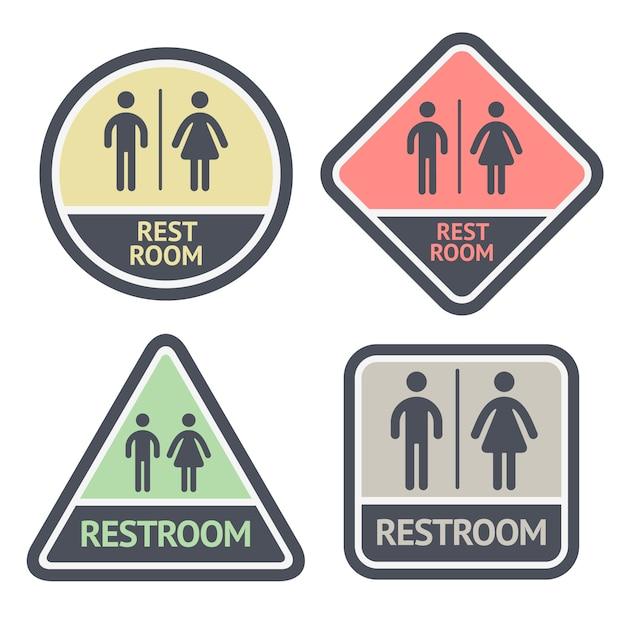 Conjunto de símbolos plana de banheiro Vetor Premium