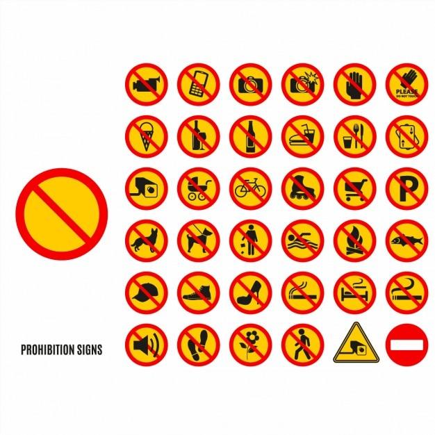 Conjunto de símbolos proibição Vetor grátis