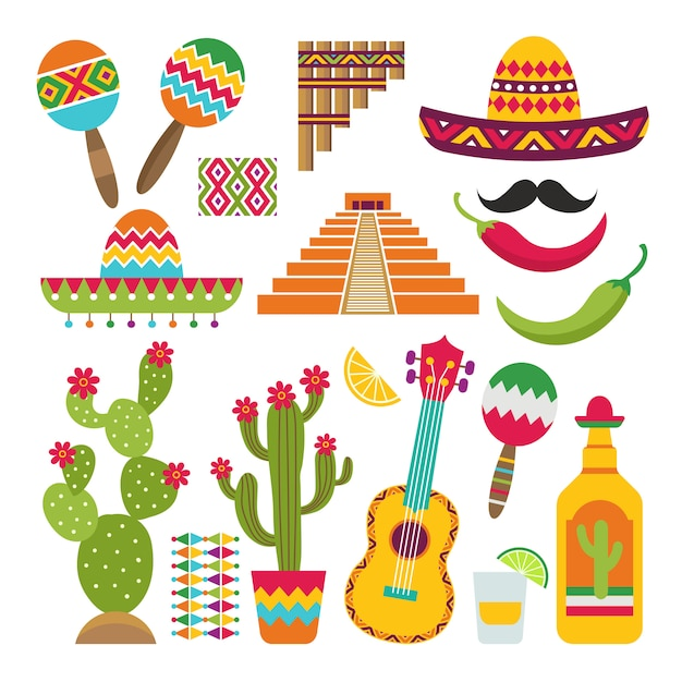 Conjunto de símbolos tradicionais mexicanos Vetor Premium