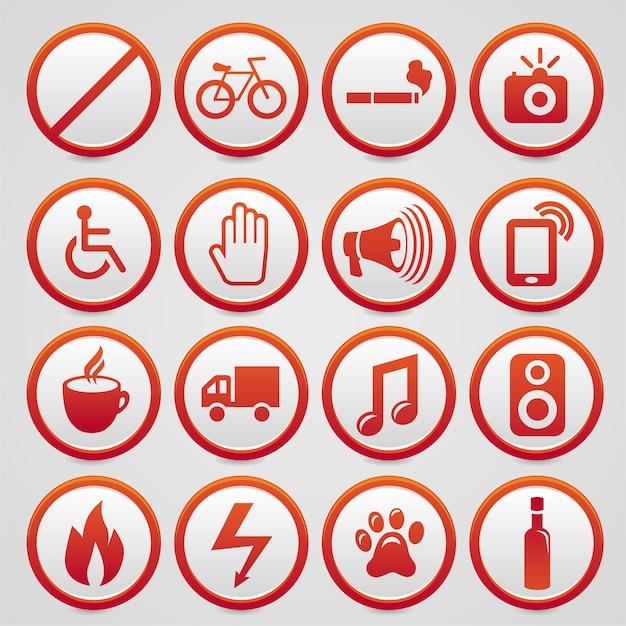 Conjunto de sinais de aviso de vetor com ícones vermelhos Vetor Premium