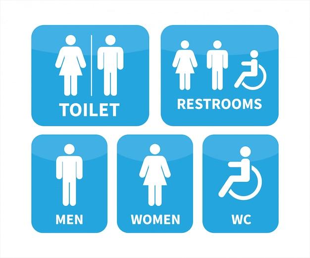 Conjunto de sinais de banheiro. Vetor Premium