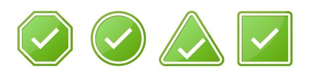 Conjunto de sinais de cheque em diferentes formas em verde Vetor Premium