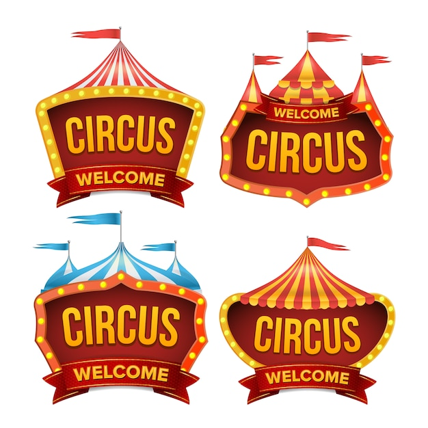Conjunto de sinais de circo. sinal de carnaval à noite. Vetor Premium