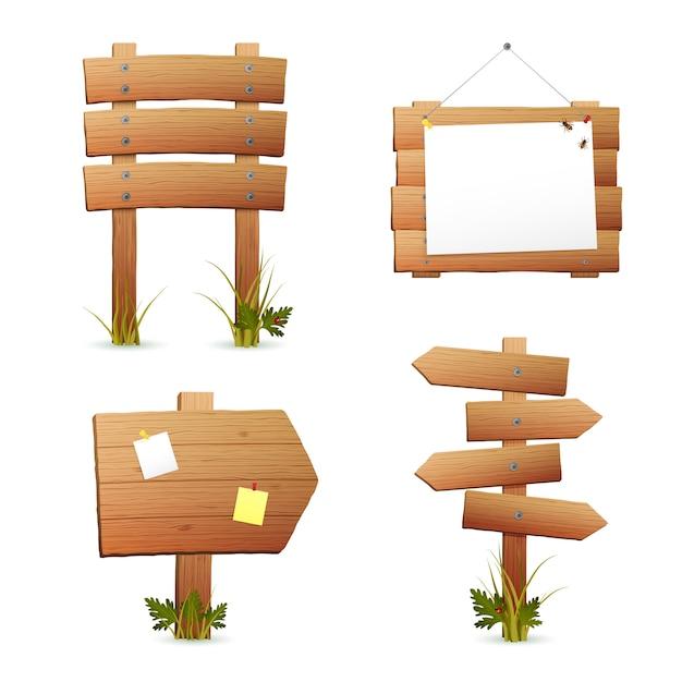 Conjunto de sinais de madeira Vetor grátis
