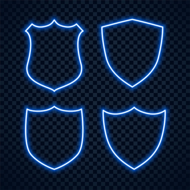 Conjunto de sinais de proteção de escudo de néon azul Vetor grátis