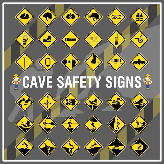 Conjunto de sinais de segurança e símbolos da caverna. sinais de segurança da caverna. Vetor Premium