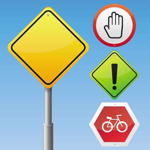 Conjunto de sinais de trânsito de vetor Vetor Premium