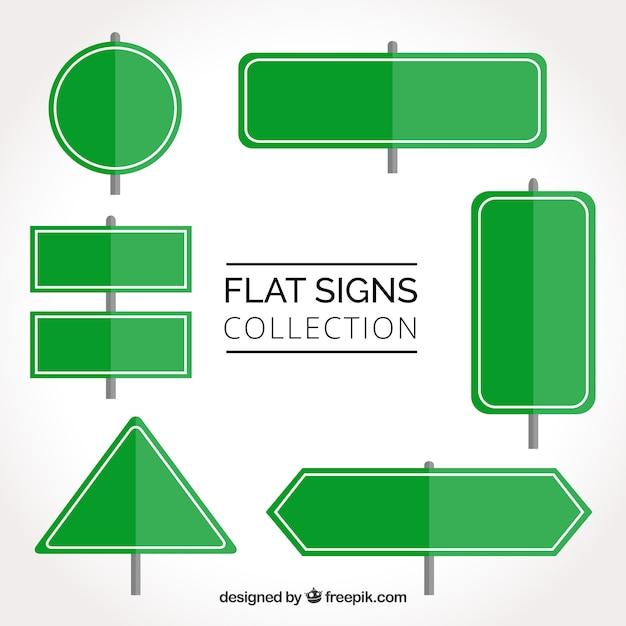 Conjunto de sinais de trânsito verdes em design plano Vetor grátis