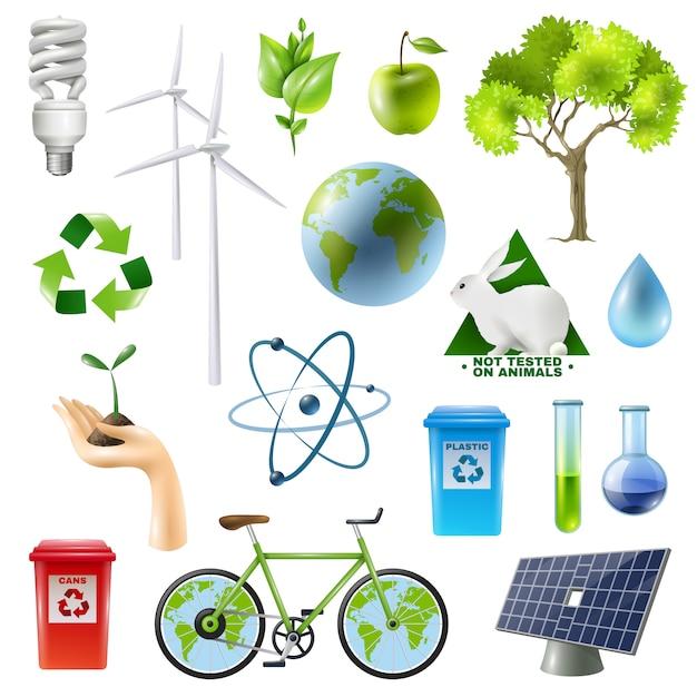 Conjunto de sinal de energia verde Vetor grátis